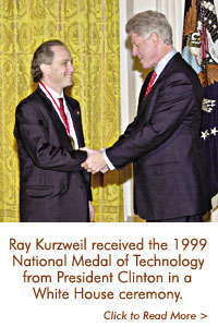 Photo of Ray Kurzweil receiving the National Medal of Technology from President Clinton
